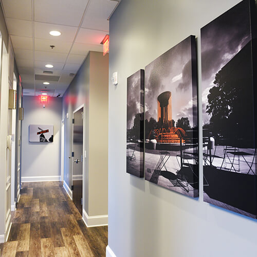 The hallway inside of Night & Day Dentistry in Cary, NC