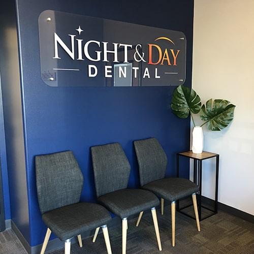 The waiting room of Night & Day Dental Cornelius