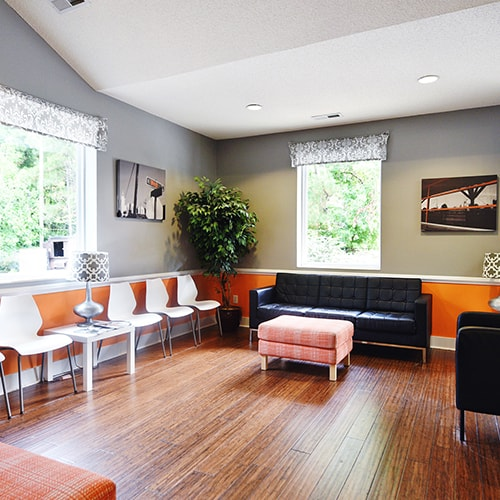 The lobby of Night & Day Dental in Raleigh, NC